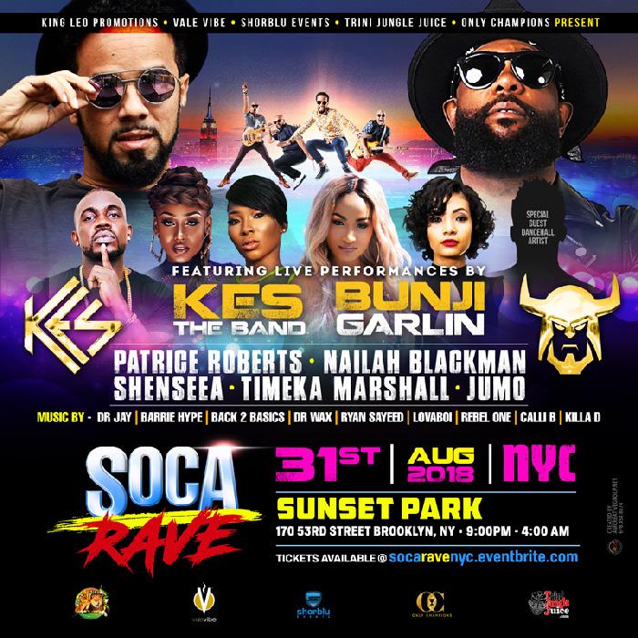 Soca Rave New York - KES the Band x Bunji Garlin
