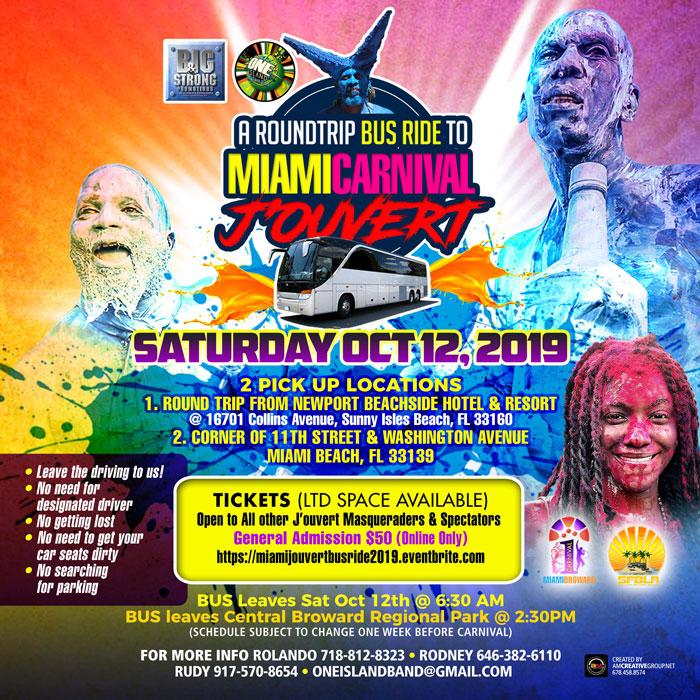 Round Trip Bus Ride to Miami Carnival J
