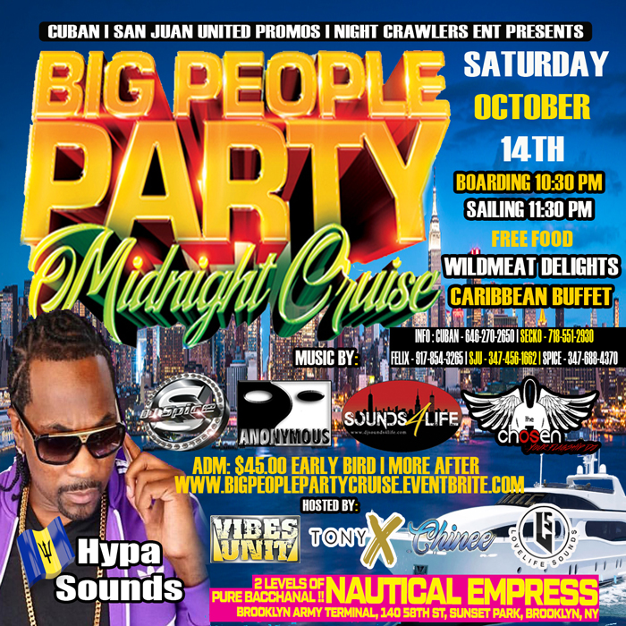 Big People Party Midnight Cruise with Hypa Sounds & A Wildmeat Buffet