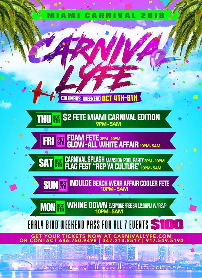 Carnival Lyfe Miami Carnival 2018 Event Guide