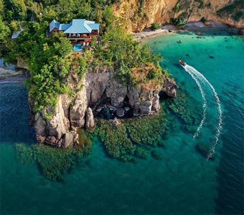 The award-winning Secret Bay in Dominica