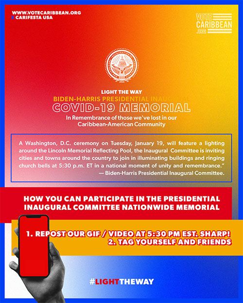 Votecaribbean.org and Carifesta USA Announces Participation in the National Memorial to Lives Lost to COVID-19