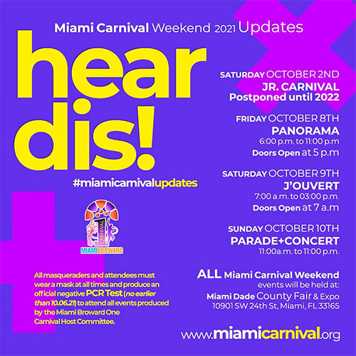 Official Miami Carnival Celebration to take place Columbus Day Week at the Miami-Dade County Fairgrounds