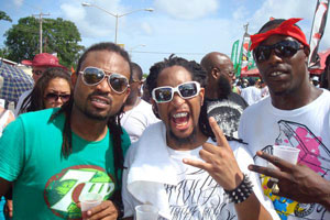 Machel Montano, Lil Jon and Kernal Roberts hit the road for Grand Kadooment celebrations in Barbados on August 4, 2008